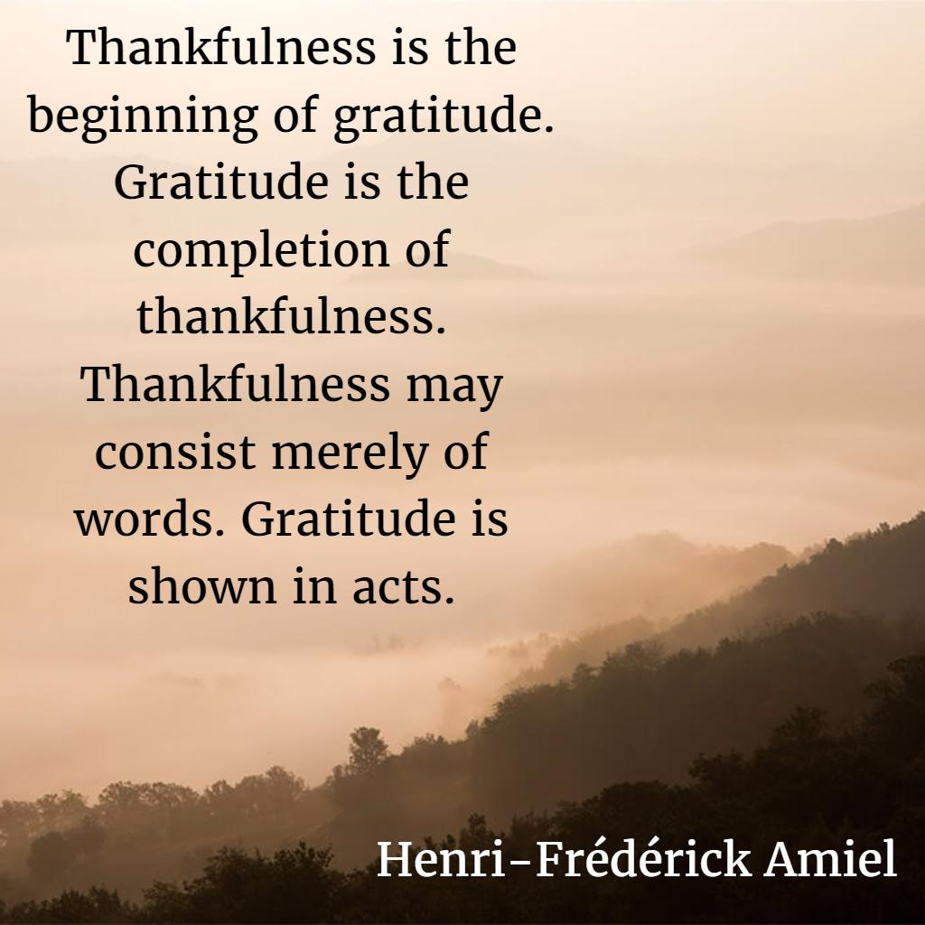 Henri-Frederick Amiel on Gratitude