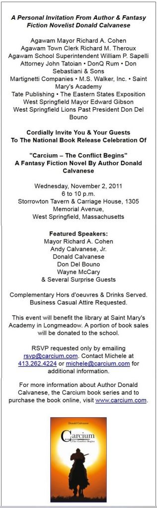 Donald Calvanese Book Release Party Invite
