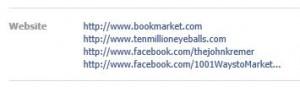 Facebook website listings