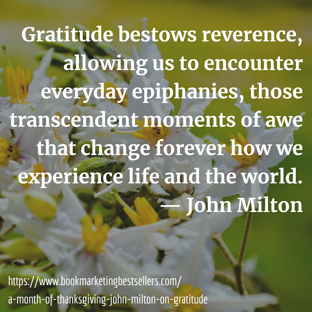 Gratitude bestows reverence, allowing us to encounter everyday epiphanies, those transcendent moments of awe that change forever how we experience life and the world. — John Milton on Gratitude