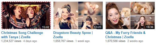 Zoella YouTube Videos