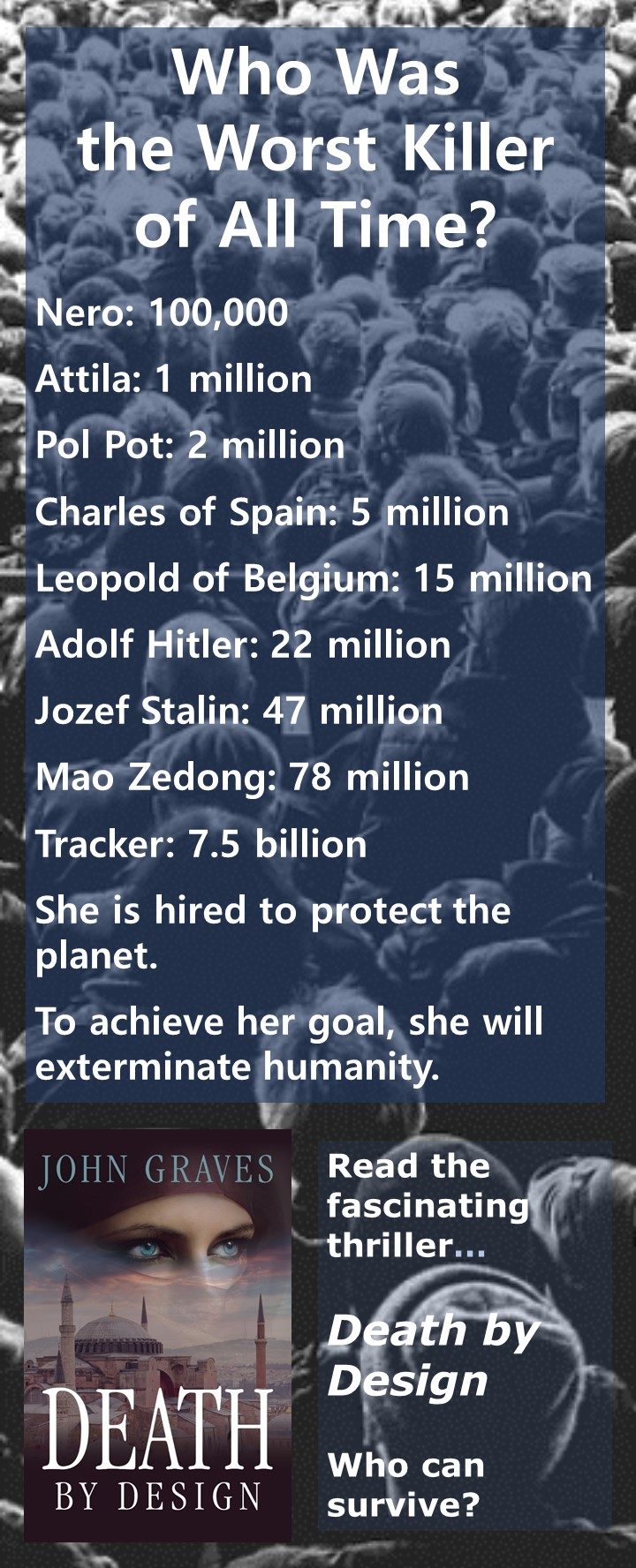 Worst Killer of All Time - Tracker: 7.5 billion. She is hired to protect the planet. To achieve her goal, she will exterminate humanity.