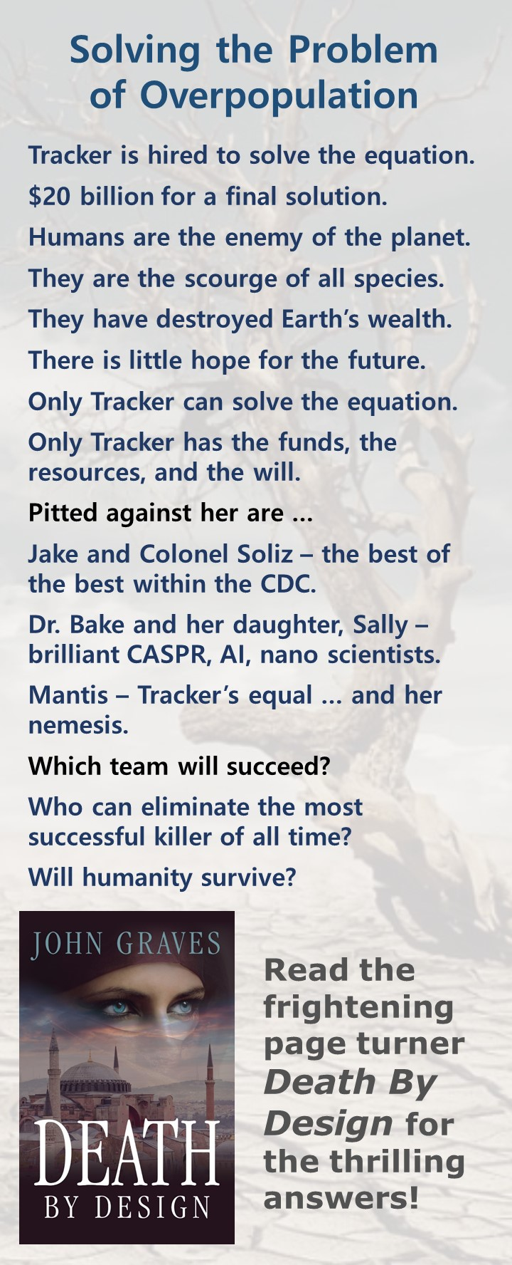 Can you create lists like the ones John Graves inserts into his tip-o-graphics to target readers of thrillers? In this graphic, he focuses on the solving the problem of overpopulation.
