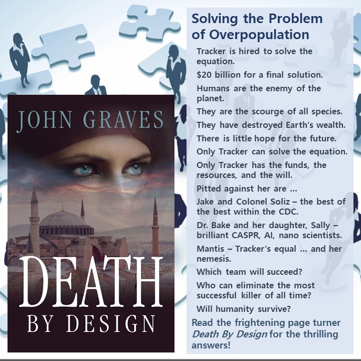 Solving the Problem of Overpopulation - Can you create lists like the ones John Graves inserts into his tip-o-graphics to target readers of thrillers? In this graphic, he focuses on the solving the problem of overpopulation.