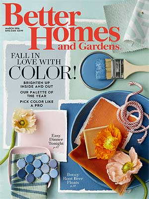Better Homes and Gardens is a monthly home, garden, decorating, beauty, fashion, organizing, food, entertaining, relationships, pets, and health magazine for women.