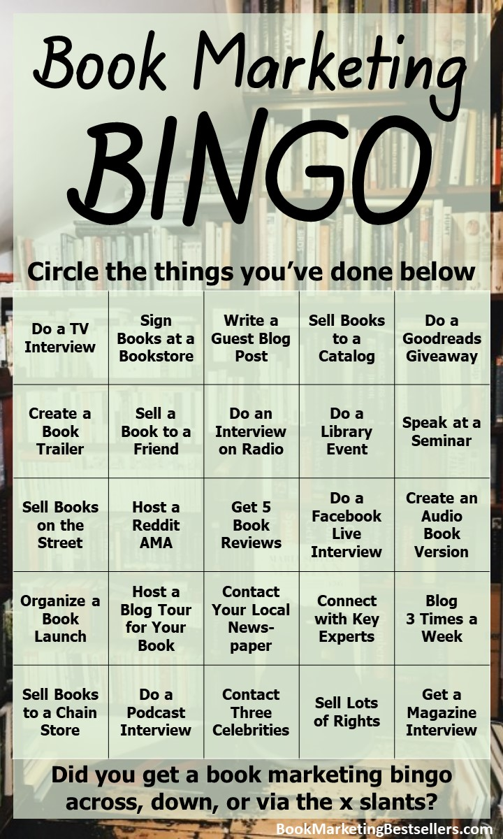 Book Marketing Bingo Card - Are you doing enough to market your books? You can find your answer below. How many of these book marketing activities have you done for your most important book? Do you score a bingo on this Book Marketing Bingo card?