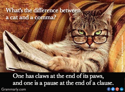 The Difference Between Cats and Commas: One has claws at the end of its paws, and the other is a pause at the end of a clause.