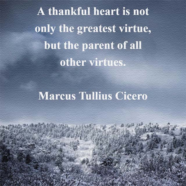 Cicero on a Thankful Heart - A thankful heart is not only the greatest virtue, but the parent of all other virtues. #thanks #heart
