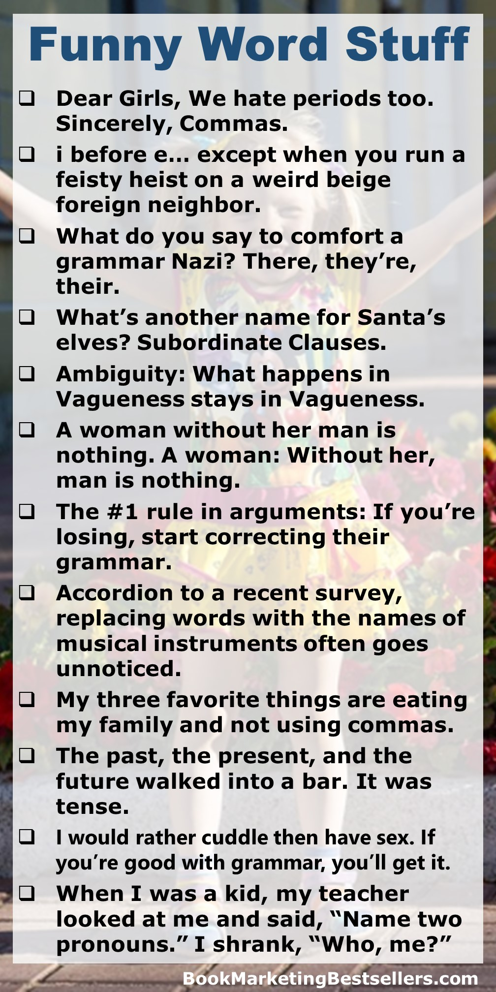 Jokes for people who love grammar and punctuation!