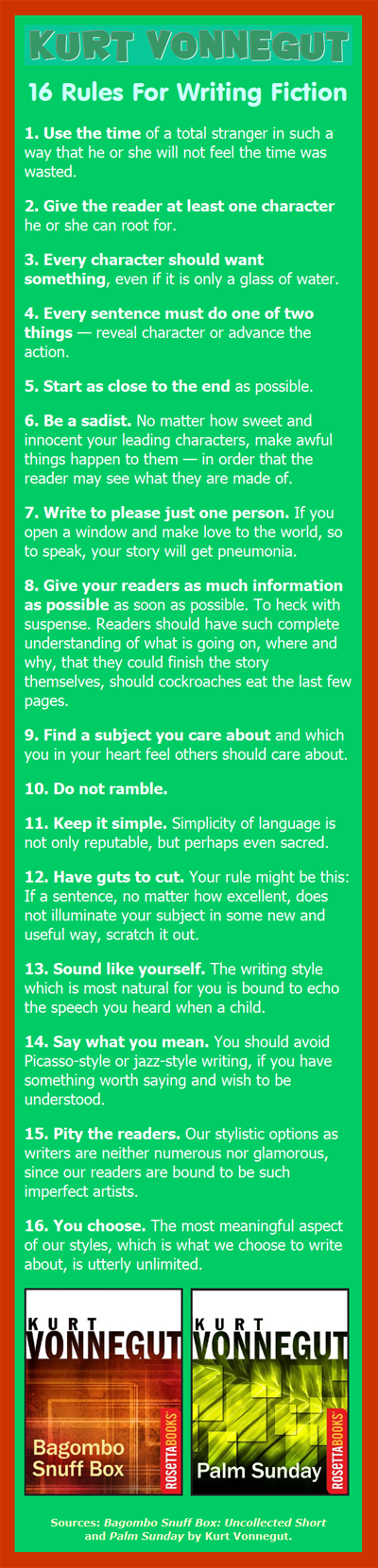 16 Rules For Writing Fiction by Kurt Vonnegut. Here are some great rules for writers, novelists, and short story writers from one of the top novelists ever to write a book.