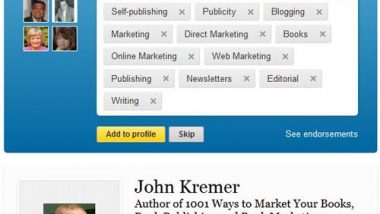 LinkedIn John Kremer Endorsements
