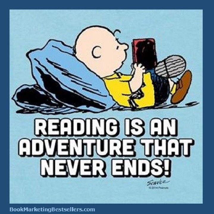 Charlie Brown Says: Reading is an adventure that never ends! Peanuts everyone! #Peanuts #reading #readers #ILoveReading #books