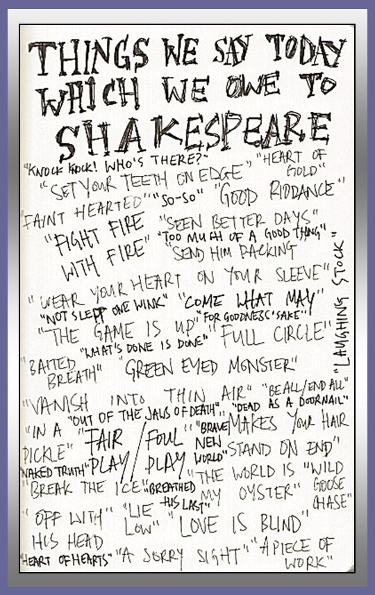William Shakespeare was a prolific creator of new words and expressions. Here are a few of the common words and expressions first used by William Shakespeare — words and expressions we now use every day.