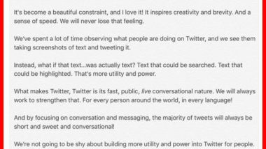 Twitter announces a 10,000 character limit coming soon