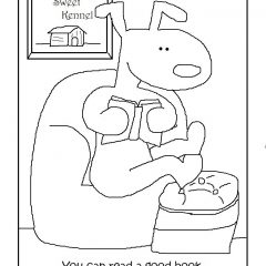 Coloring Book Page: Read a book.